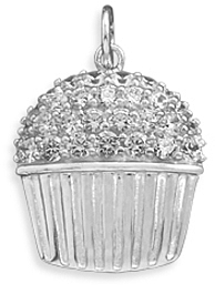 Rhodium Plated CZ Cupcake Pendant 925 Sterling Silver