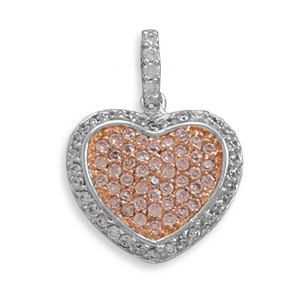 Rhodium Plated CZ Heart Pendant 925 Sterling Silver - DISCONTINUED