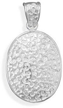 Oval Textured Pendant 925 Sterling Silver