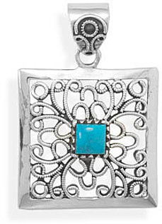 Ornate Square Pendant with Turquoise Center 925 Sterling Silver