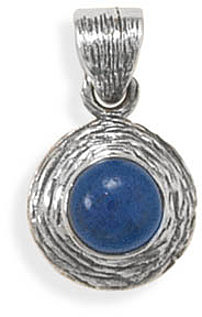 Textured Lapis Pendant 925 Sterling Silver - DISCONTINUED