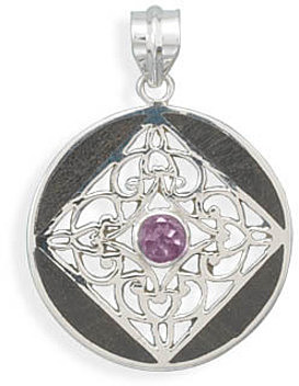 Wood Inlay Pendant with Amethyst 925 Sterling Silver