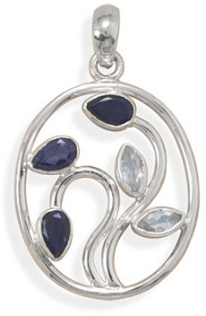Iolite and Rainbow Moonstone Pendant 925 Sterling Silver