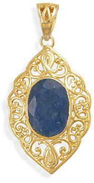 Ornate 14 Karat Gold Plated Rough-Cut Sapphire Pendant 925 Sterling Silver