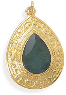 14 Karat Gold Plated Rough-Cut Emerald Pendant 925 Sterling Silver - DISCONTINUED