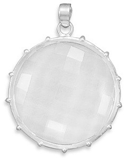 Faceted Clear Quartz Pendant 925 Sterling Silver