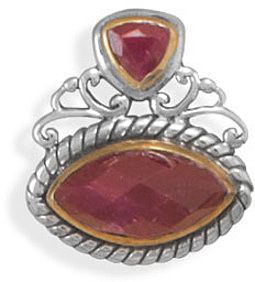 Two Tone Rough-Cut Ruby Slide 925 Sterling Silver
