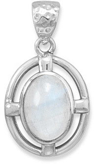 Rainbow Moonstone Pendant 925 Sterling Silver
