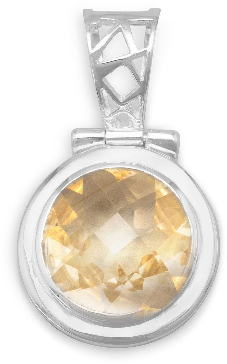 Hinged Citrine Pendant 925 Sterling Silver