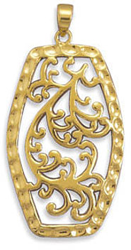 14 Karat Gold Plated Filigree Pendant 925 Sterling Silver