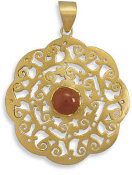 14 Karat Gold Plated Pendant with Carnelian Center 925 Sterling Silver