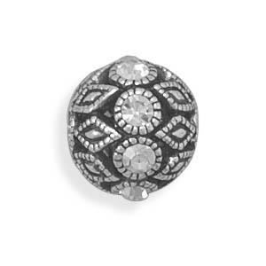 Oxidized Crystal Ball Slide 925 Sterling Silver - DISCONTINUED
