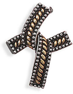 Oxidized Two Tone Cross Slide 925 Sterling Silver