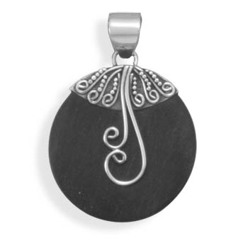 Wood with Swirl Design Pendant 925 Sterling Silver- DISCONTINUED