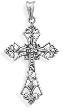 Ornate Oxidized Cross Pendant 925 Sterling Silver