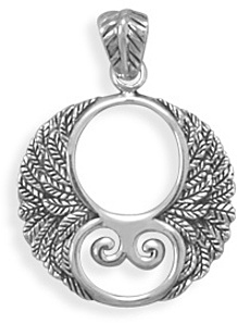 Oxidized Ornate Wings Pendant 925 Sterling Silver