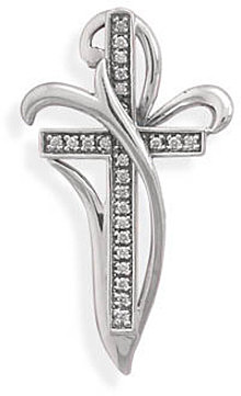 Oxidized CZ Cross Slide 925 Sterling Silver