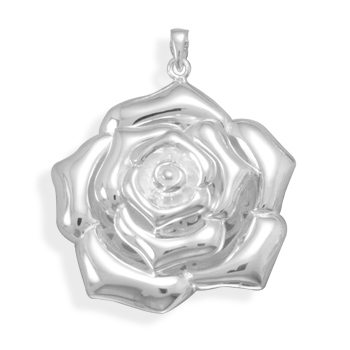 Polished Flower Pendant 925 Sterling Silver - DISCONTINUED