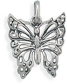 Oxidized Butterfly Pendant 925 Sterling Silver