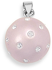 Rhodium Plated Light Pink Pendant with Crystal 925 Sterling Silver