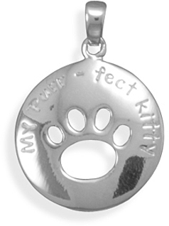 Rhodium Plated Cut Out Kitty Paw Print Pendant 925 Sterling Silver