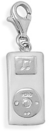 Rhodium Plated Portable Music Player Charm with Lobster Clasp 925 Sterling Silver