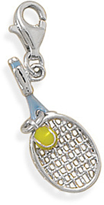 Rhodium Plated Tennis Racket Charm with Lobster Clasp 925 Sterling Silver