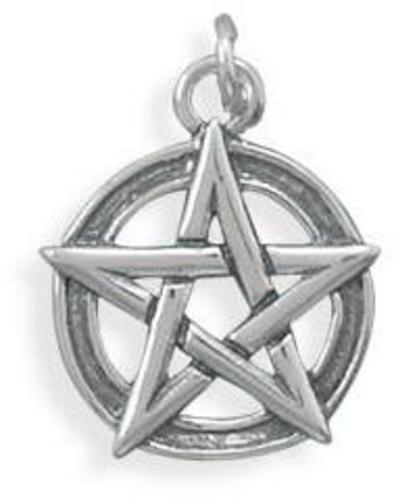 Oxidized Pentagram Charm 925 Sterling Silver