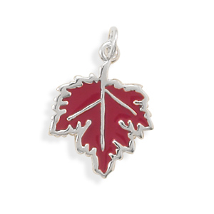 Enamel Maple Leaf Charm 925 Sterling Silver - DISCONTINUED