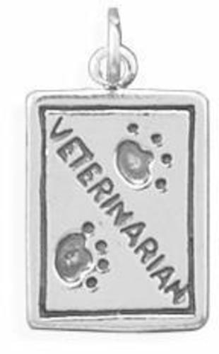Oxidized Veterinarian Charm 925 Sterling Silver