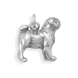Oxidized Pug Charm 925 Sterling Silver - DISCONTINUED
