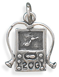 Oxidized MP3 Player Charm 925 Sterling Silver