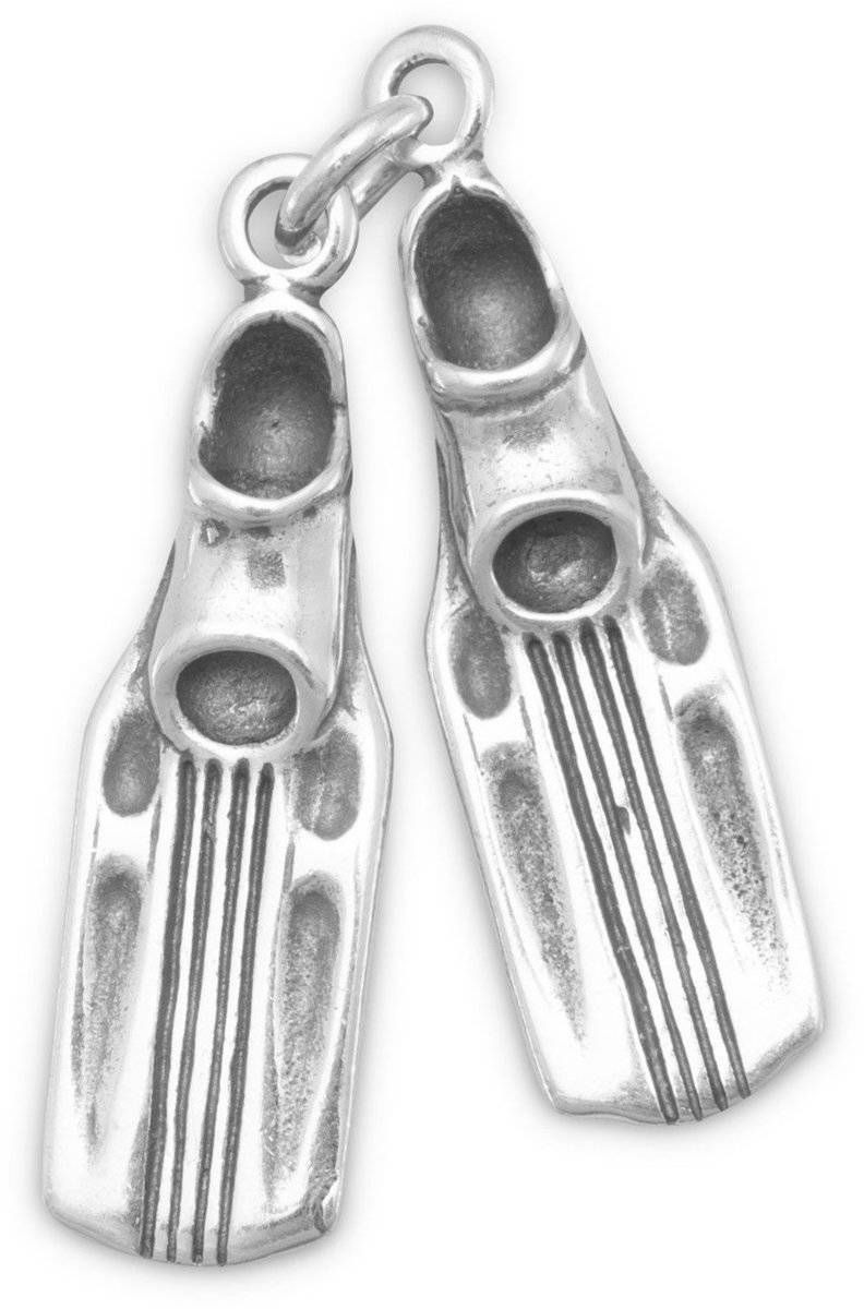 Oxidized Swim Fins Charm 925 Sterling Silver