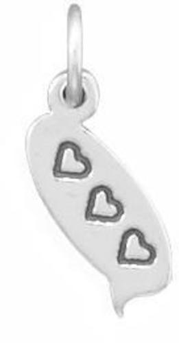 3 Hearts Text Message Charm 925 Sterling Silver