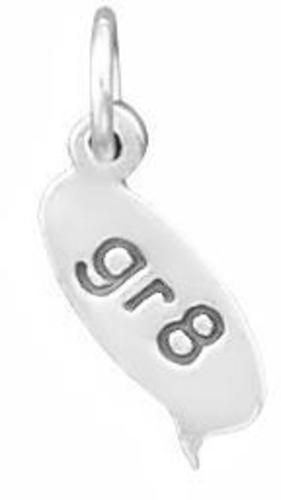 """gr8"" Text Message Charm 925 Sterling Silver"