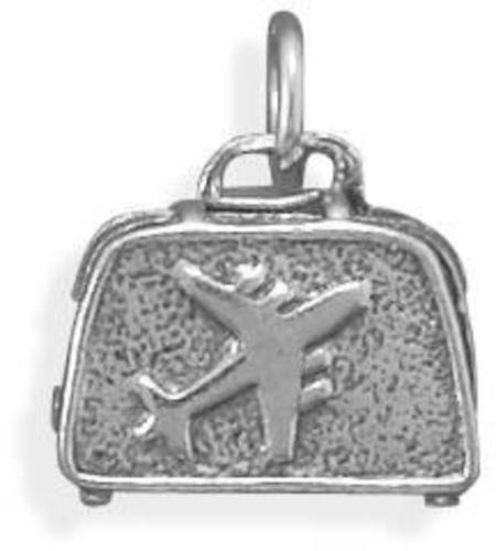 Oxidized Suitcase Charm 925 Sterling Silver