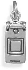 Oxidized Cell Phone Charm 925 Sterling Silver - DISCONTINUED