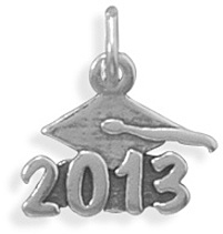 Oxidized 2013 Charm 925 Sterling Silver