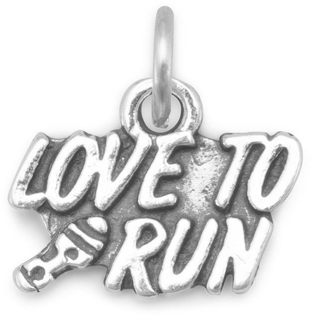 Oxidized Love to Run Charm 925 Sterling Silver