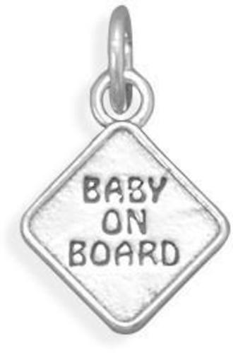 Oxidized Baby on Board Charm 925 Sterling Silver