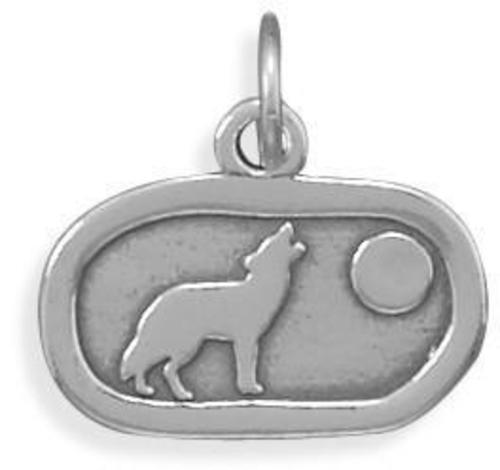 Oxidized Howling Wolf Charm 925 Sterling Silver