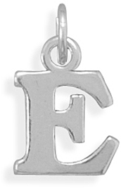 Oxidized E Charm 925 Sterling Silver