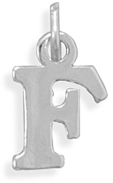 Oxidized F Charm 925 Sterling Silver