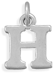 Oxidized H Charm 925 Sterling Silver