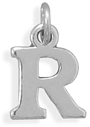 Oxidized R Charm 925 Sterling Silver