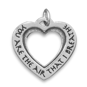 Cut Out Heart Message Charm 925 Sterling Silver - DISCONTINUED
