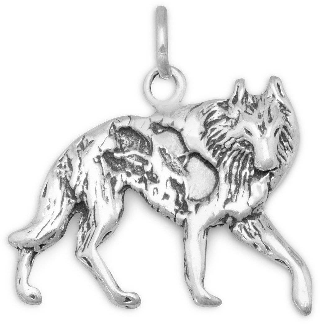 Oxidized Wolf Charm 925 Sterling Silver