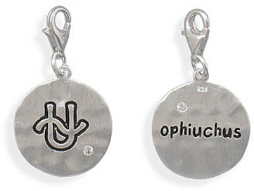Reversible Zodiac Charm with Lobster Clasp - Ophiuchus 925 Sterling Silver
