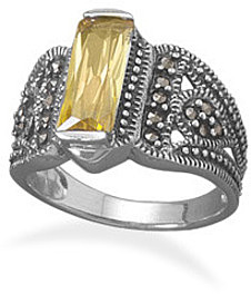 Yellow CZ Bar and Marcasite Ring 925 Sterling Silver