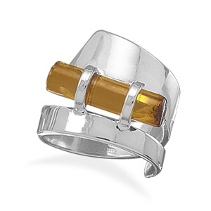 Sideways Amber Cylinder Polished Ring - DISCONTINUED 925 Sterling Silver